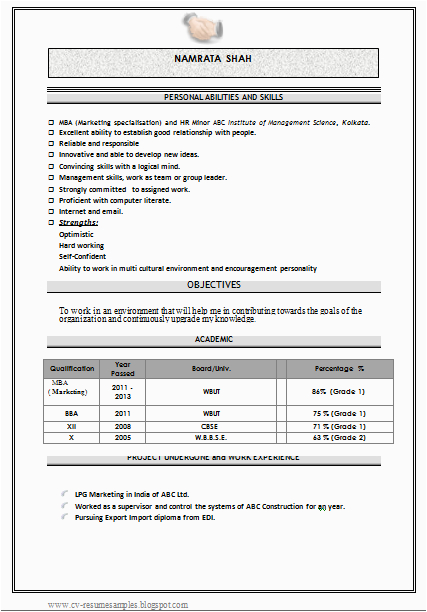 mba marketing fresher resume sample doc
