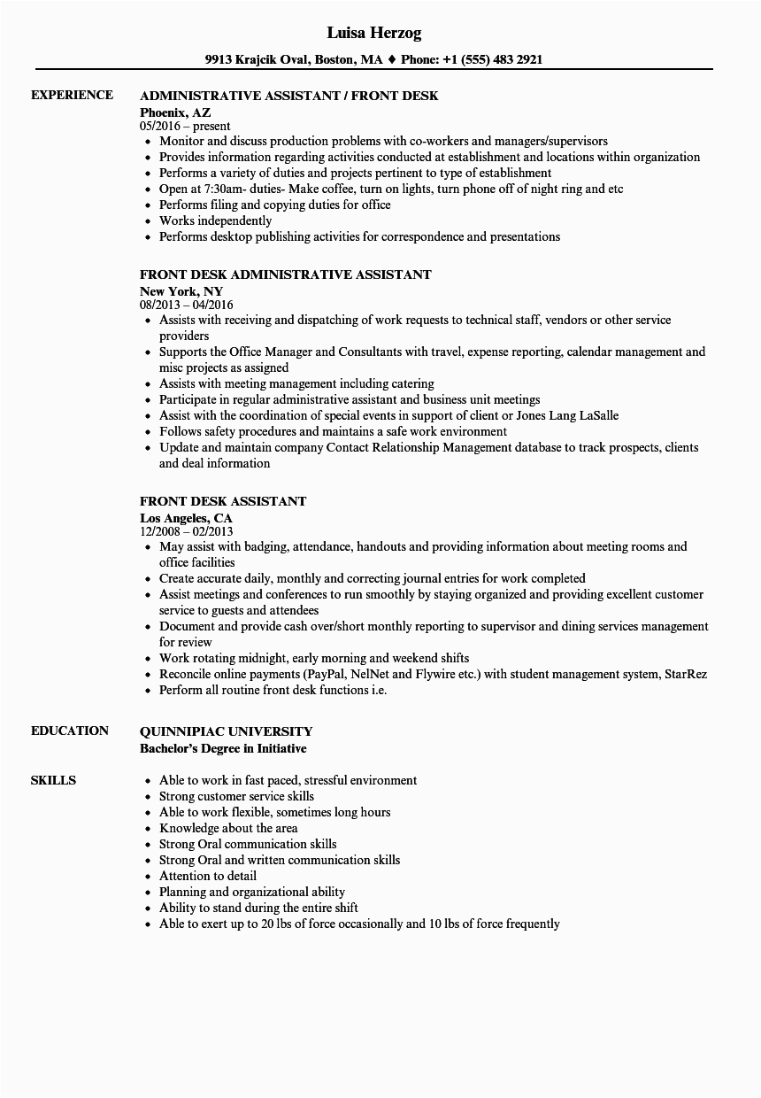 Resume Samples for Front Office Position Front Fice assistant Resume
