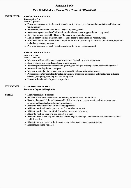 front office clerk resume sample