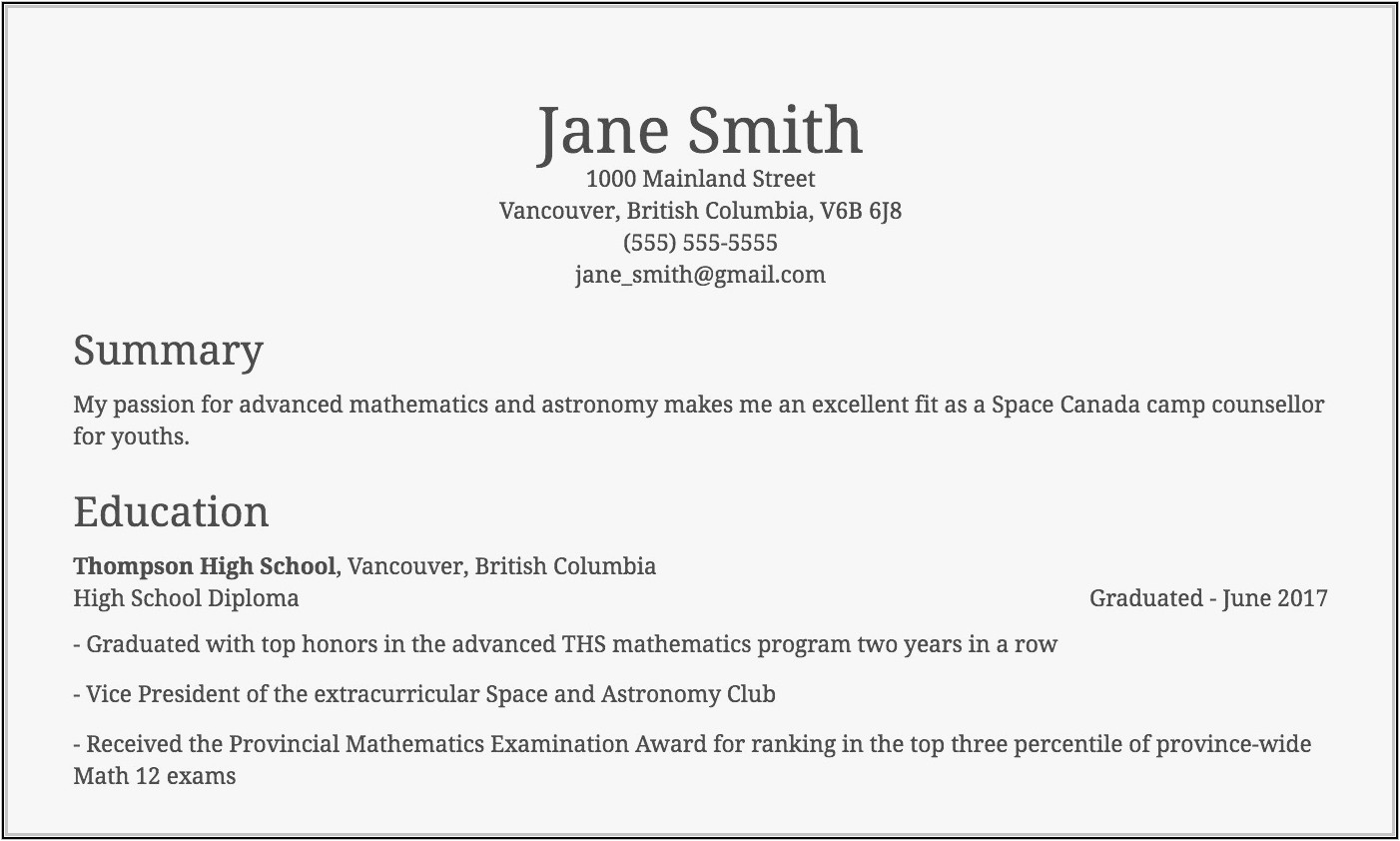 resume samples for high school students canada
