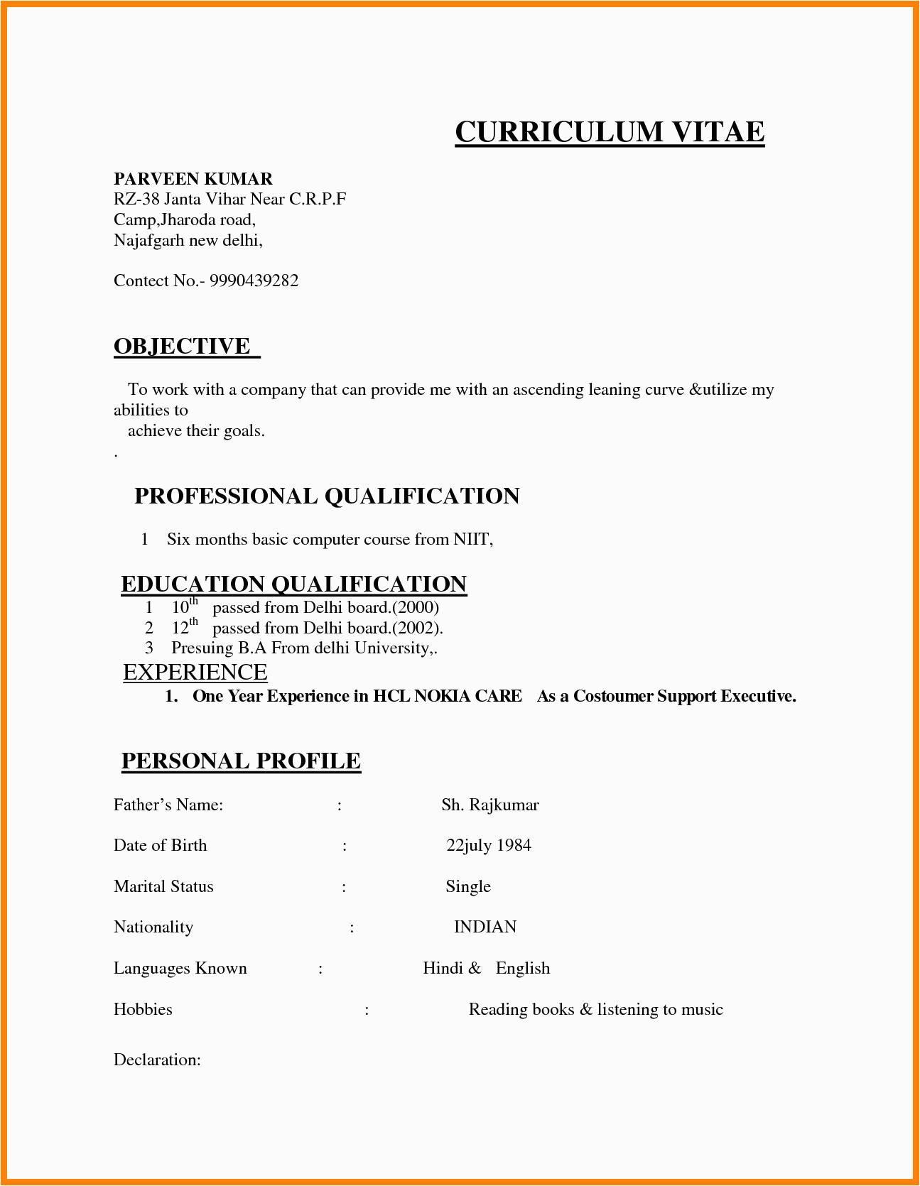 resume format india