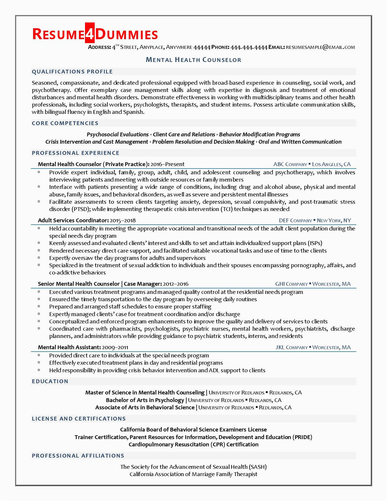 Resume Samples for Mental Health Counselors Mental Health Counselor Resume Example