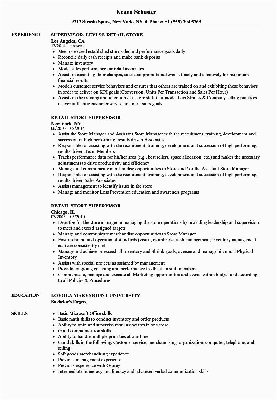Resume Samples for Retail Store Jobs Retail Store Supervisor Resume Samples