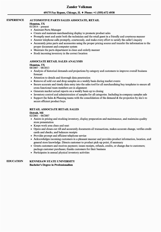 sales associate retail resume sample