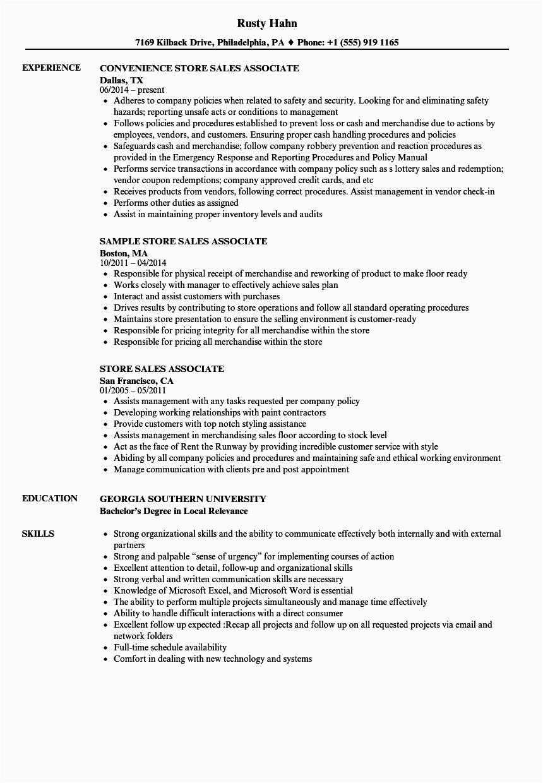 store sales associate resume sample