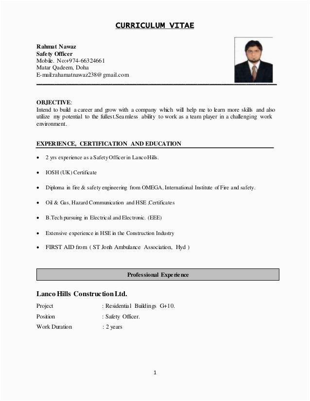 Safety Officer Sample Resume Download Pdf Image Result for Safety Officer Resume
