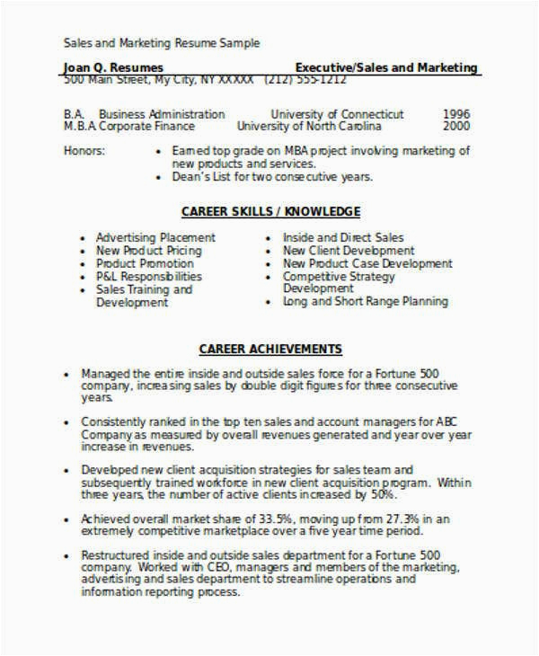 Sales and Marketing Resume Sample Download Marketing Resume format Template 7 Free Word Pdf