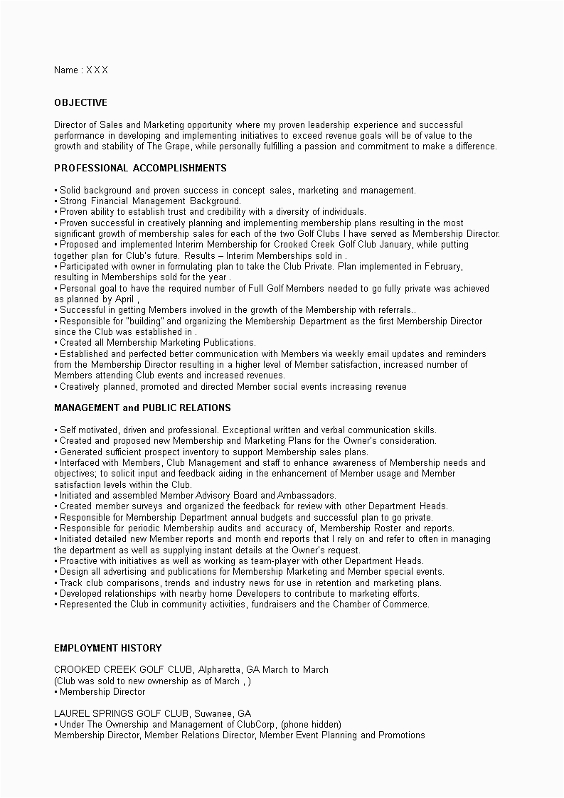 sales and marketing director resume