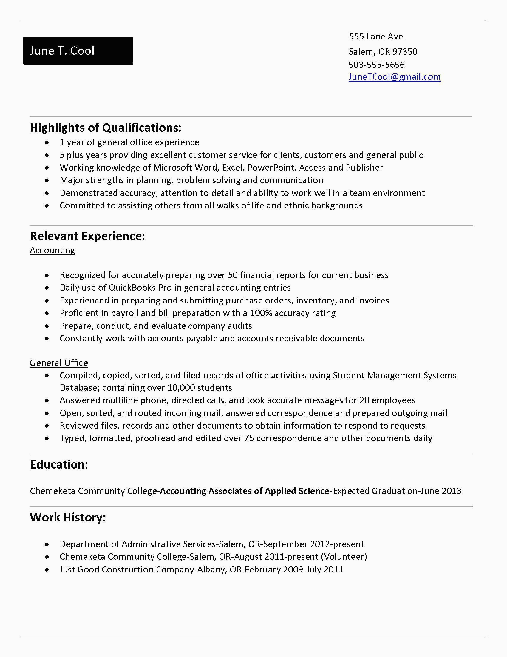 accounting student resume no experience