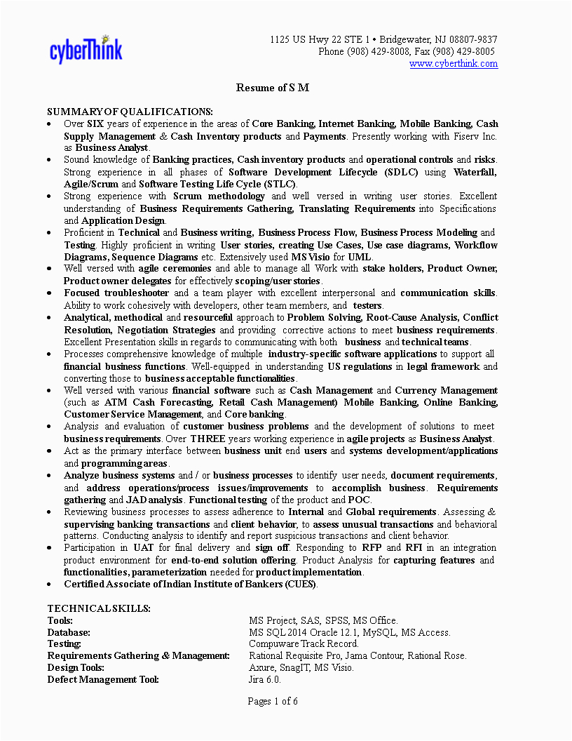 banking business analyst resume sample