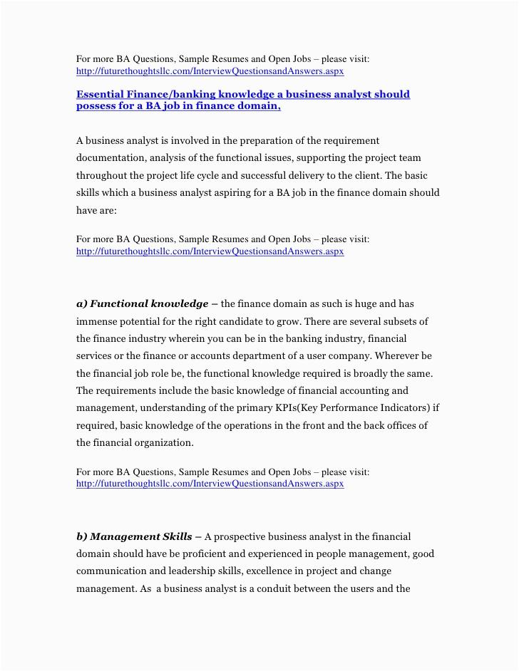 Sample Business Analyst Resume Banking Domain Business Analyst Resume for Financial and Banking Domain