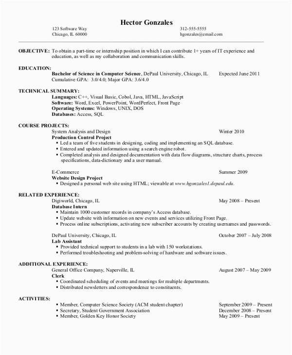 Sample Computer Science Resume Entry Level 12 Puter Science Resume Templates Pdf Doc