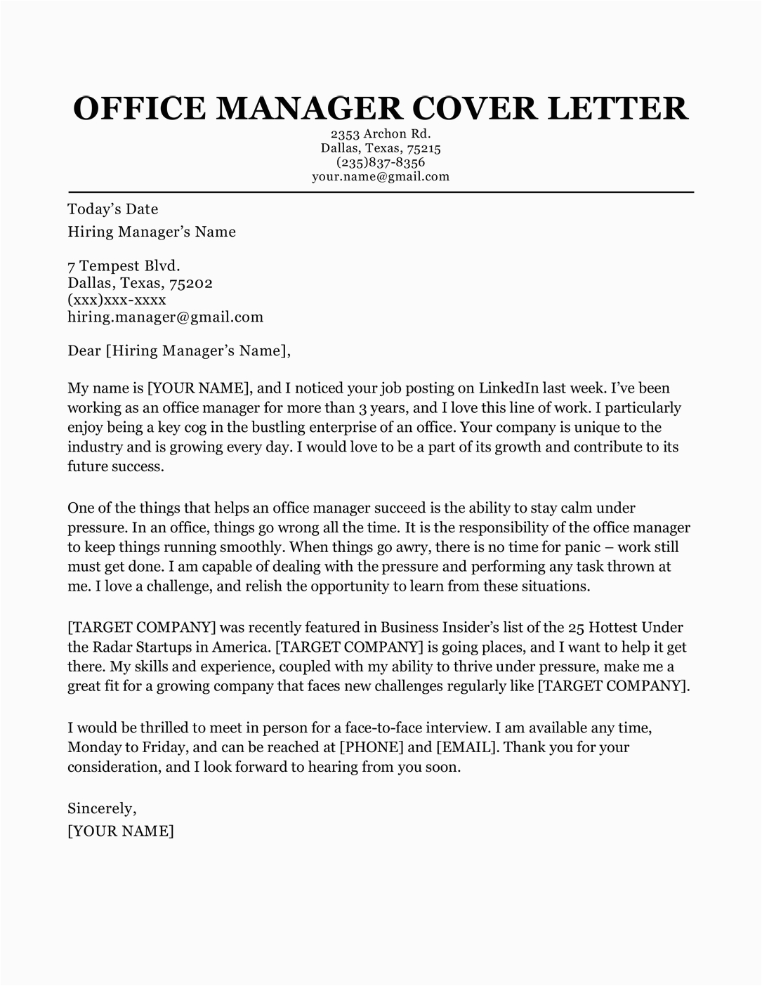 Sample Cover Letter for Resume Management Fice Manager Cover Letter Sample