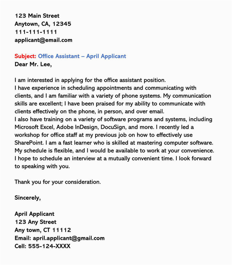 part time job cover letter