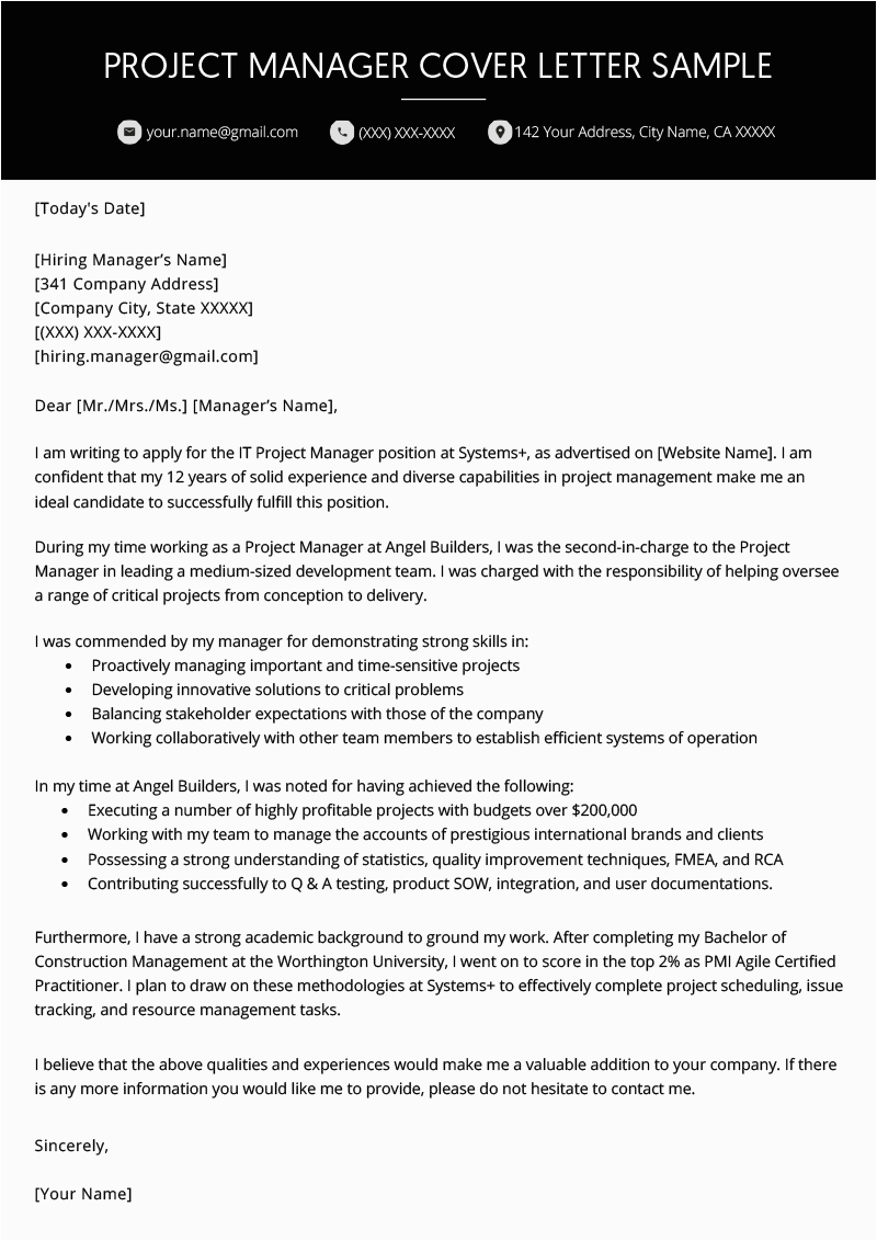 Sample Cover Letter for Resume Project Manager Project Manager Cover Letter