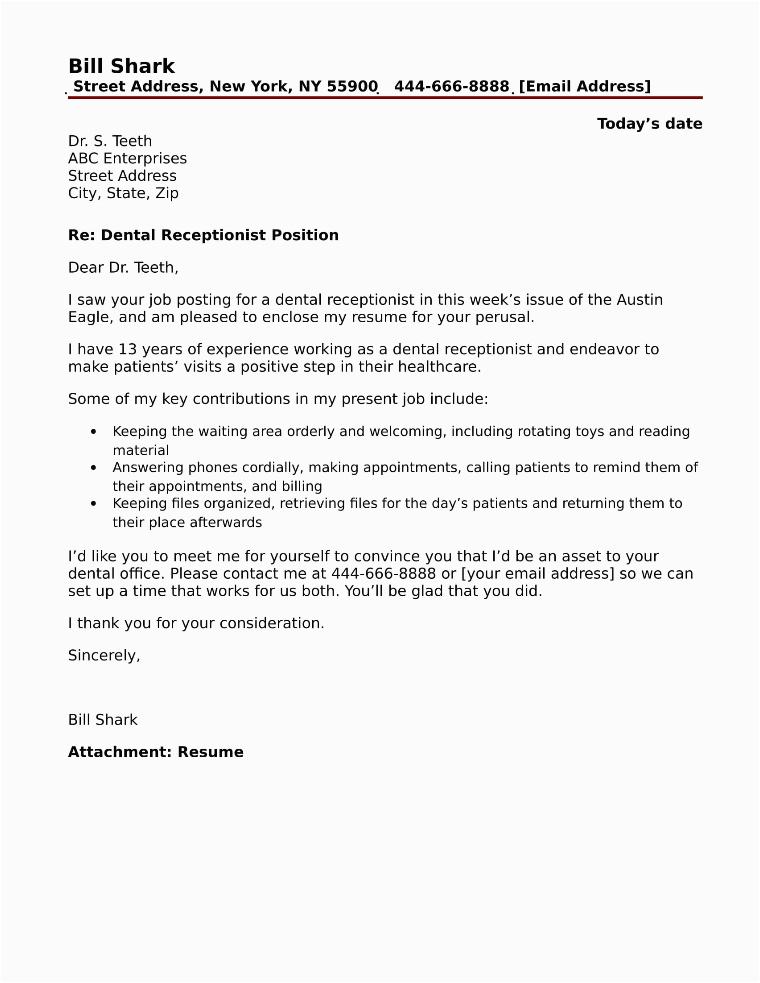 dental receptionist cover letter sample