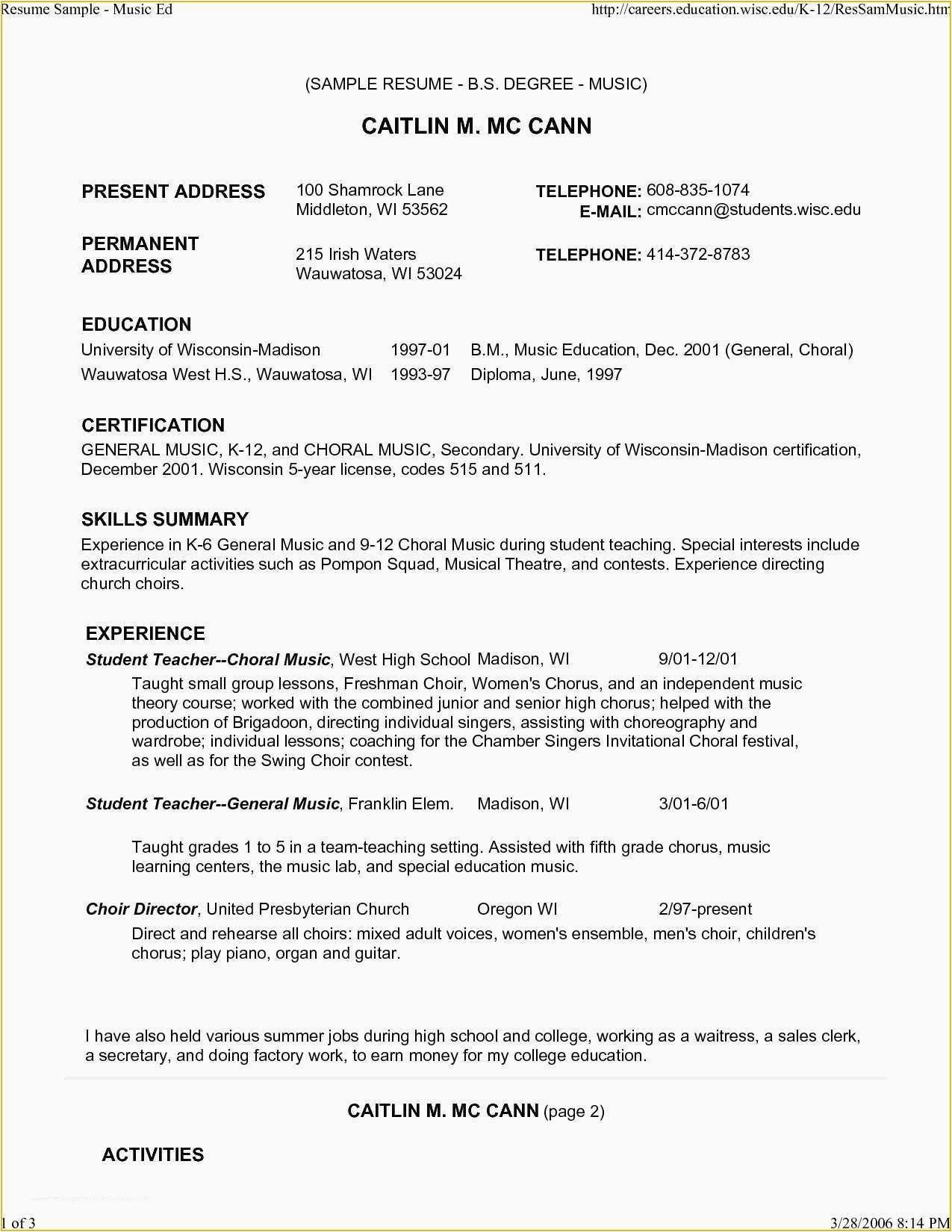 Sample Music Resume for College Application Free Musician Resume Template Musician Resume Template