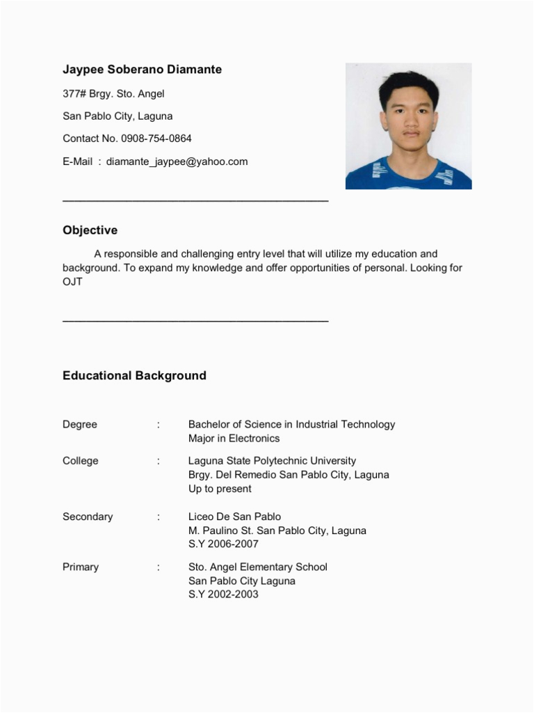 Sample Of Resume for Ojt Engineering Students Resume for Ojt Im Looking for Ojt Pany Im Electronics