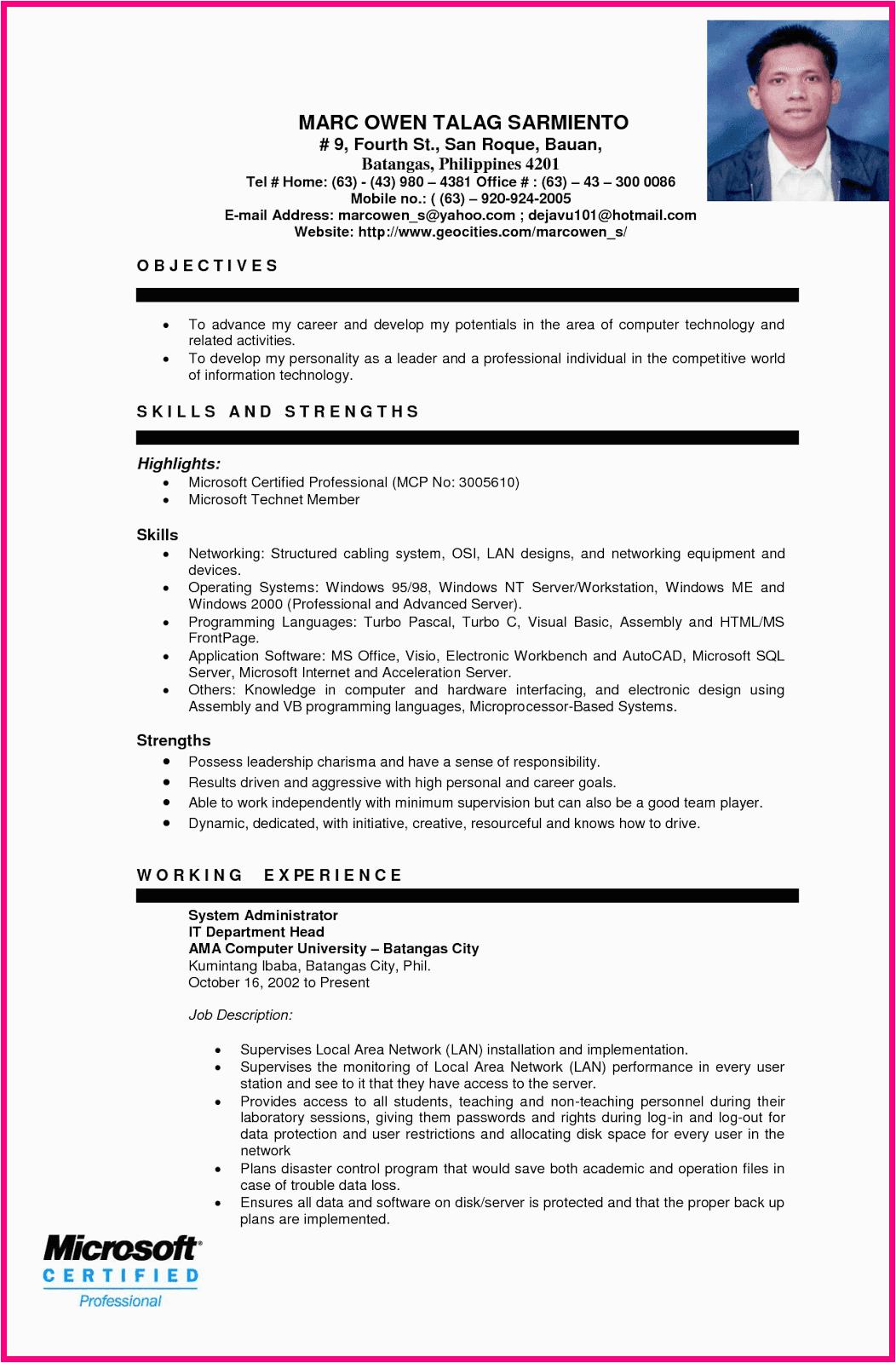sample resume format for ojt students