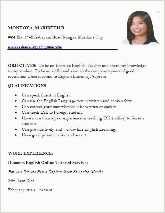 resume for online job application sample