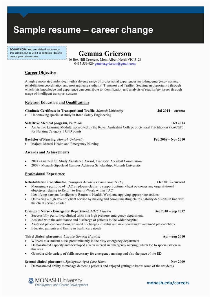 – career change sample resume gemma grierson career objec