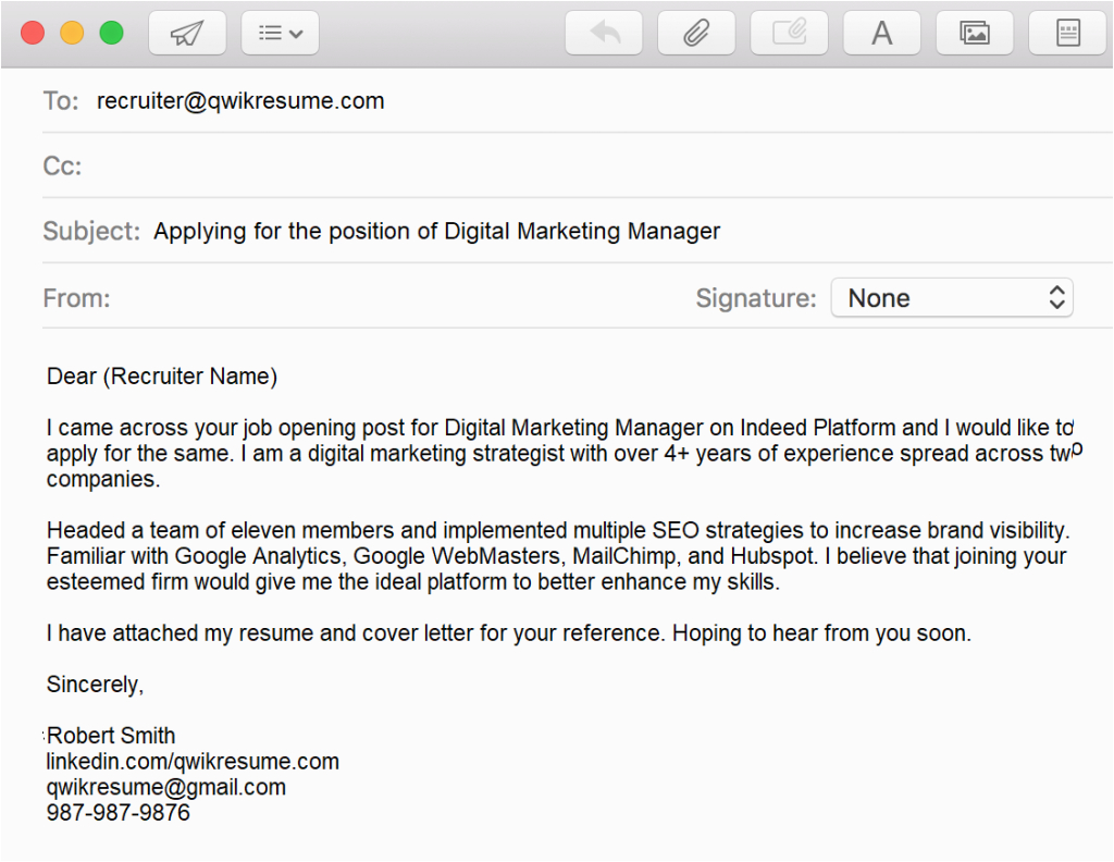 Sample Of Sending Resume Through Email How to Email A Resume to Recruiter Sample & Writing Tips