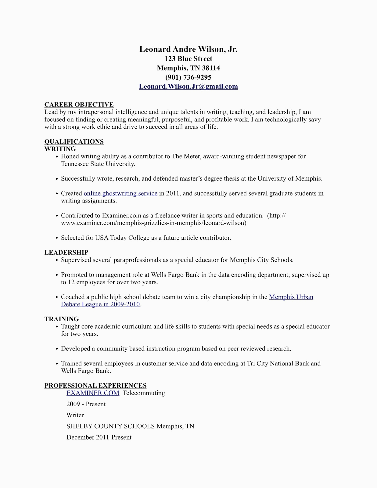 career tools sample resume featuring