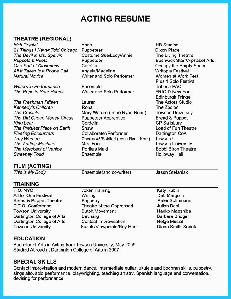 Sample Of Skills and Strengths In Resume Acting Resume Sample Presents Your Skills and Strengths In