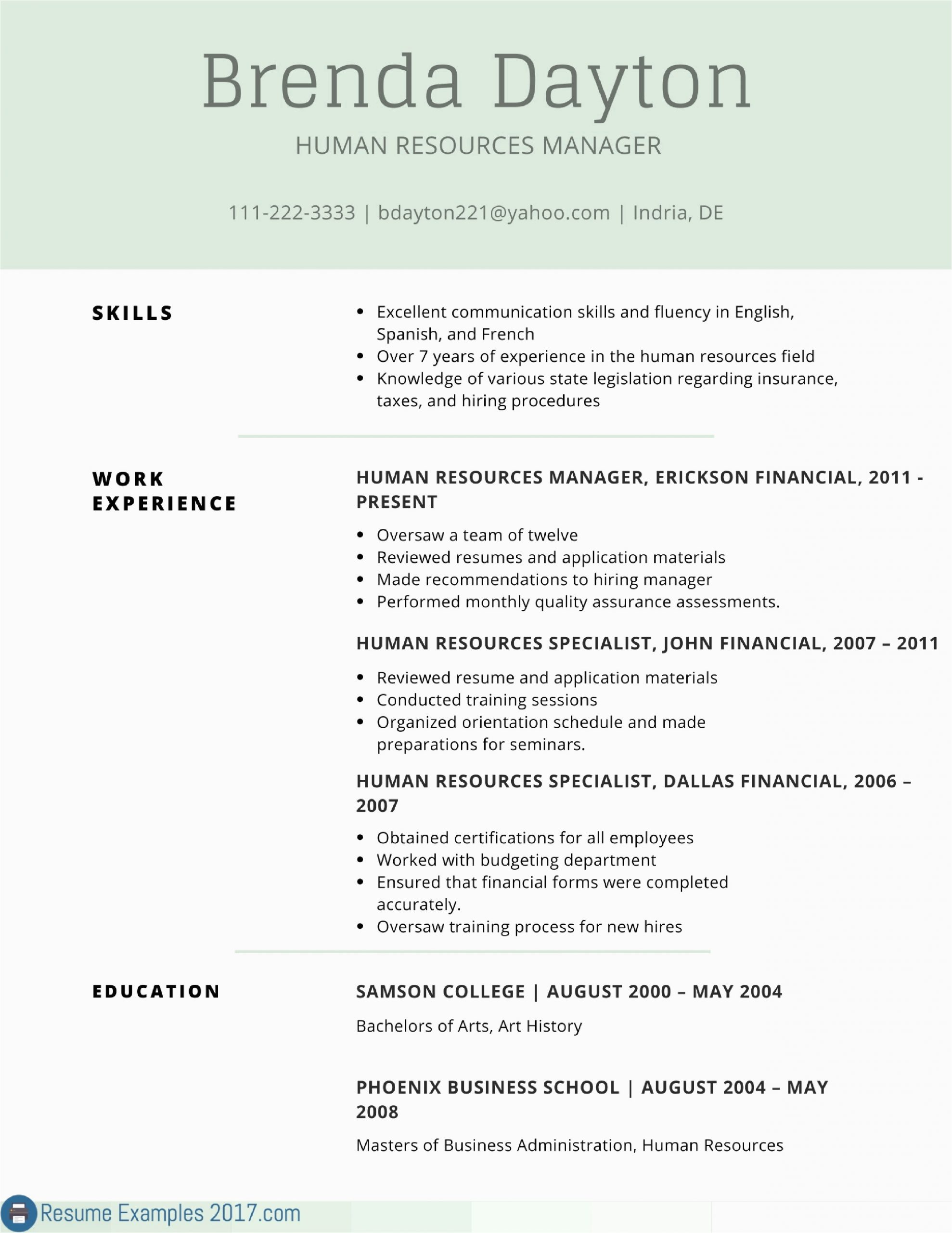 resume skills and interests examples