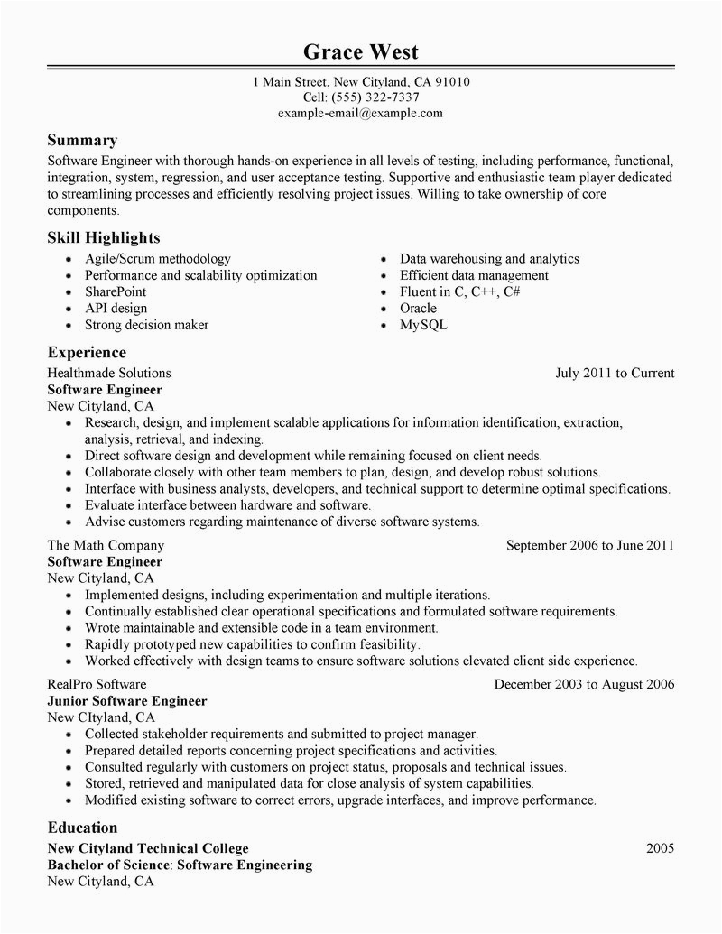 Sample One Page Resume for Experienced software Engineer Best software Engineer Resume Example