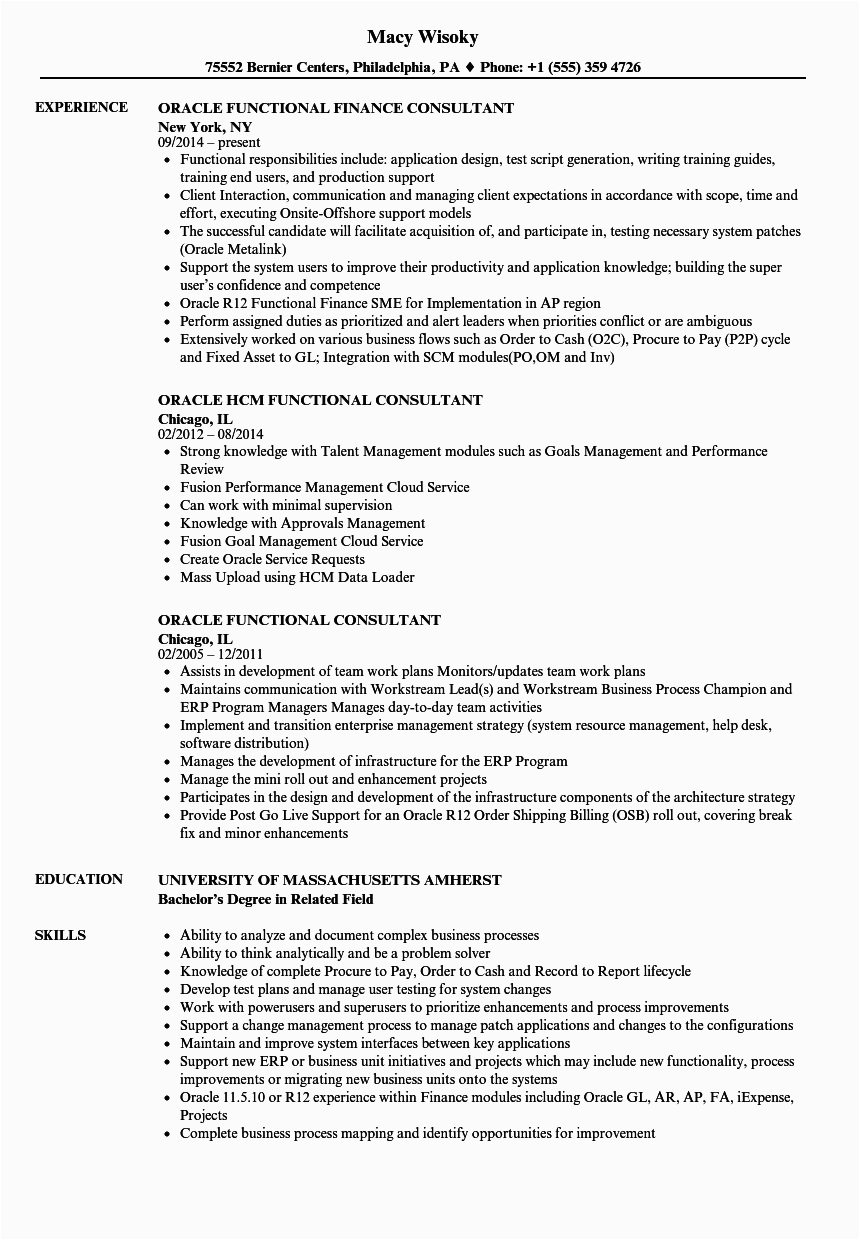 Sample oracle Application Techno Functional Consultant Resume oracle Functional Consultant Resume Samples
