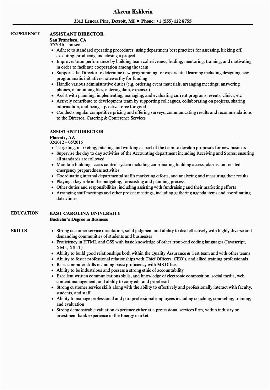 Sample Resume for assistant Director Of Films Director Resume Sample Pdf