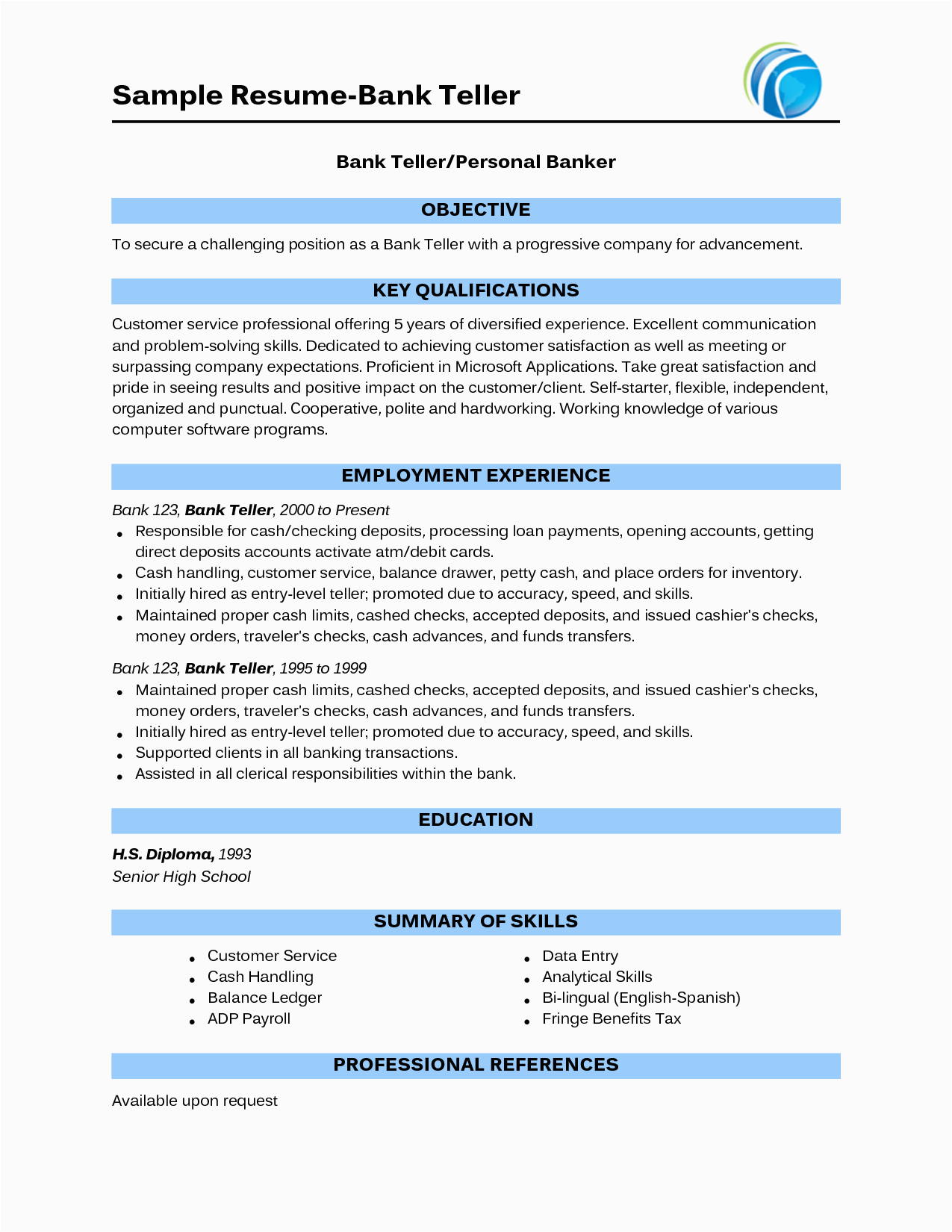 Sample Resume for Bank Jobs with No Experience Teller Resume with No Experience