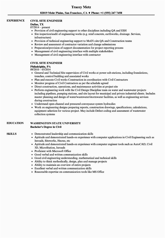 Sample Resume for Civil Site Engineer Civil Site Engineer Resume Samples