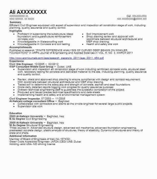 site engineer resume