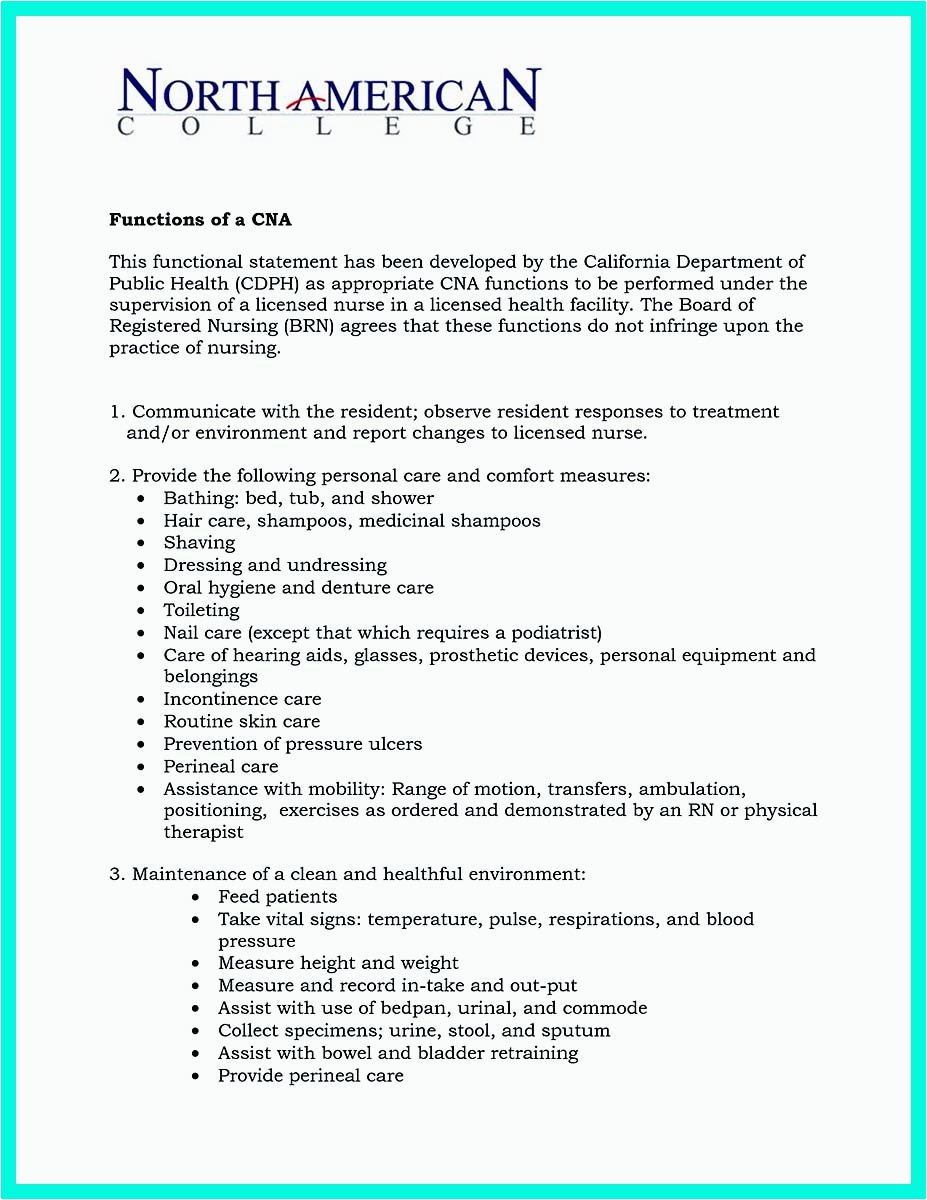 mention great and convincing skills said cna resume sample