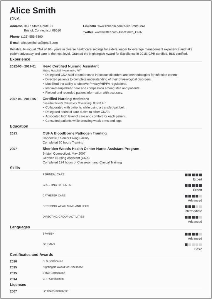 Sample Resume for Cna with Previous Experience Sample Resume for Cna with Previous Experience