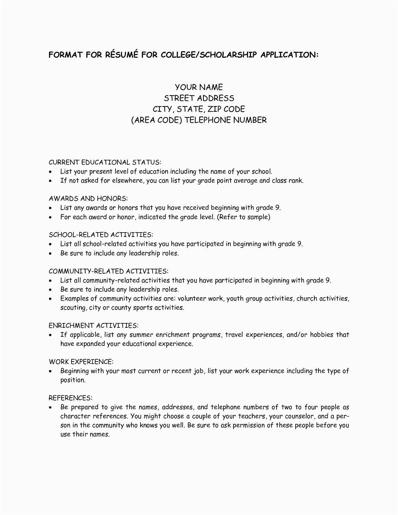 Sample Resume for College Scholarship Application College Scholarship Resume Template 1197