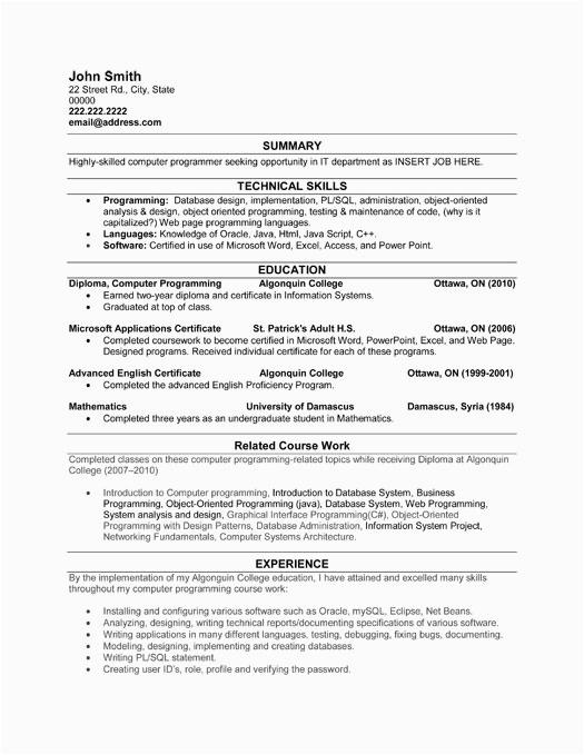 puter programmer resume sample
