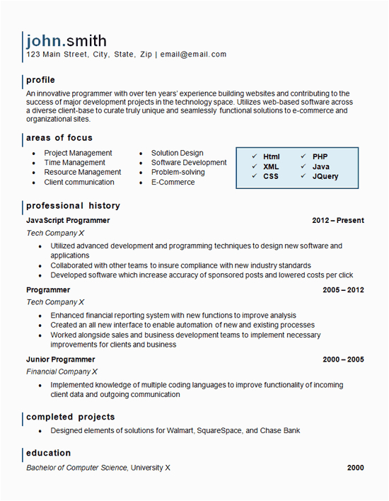 puter programming resume example