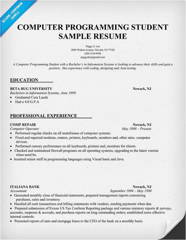 Sample Resume for Computer Programming Student Resume Sample Puter Programming Student