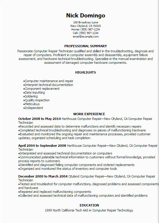 puter repair technician resume