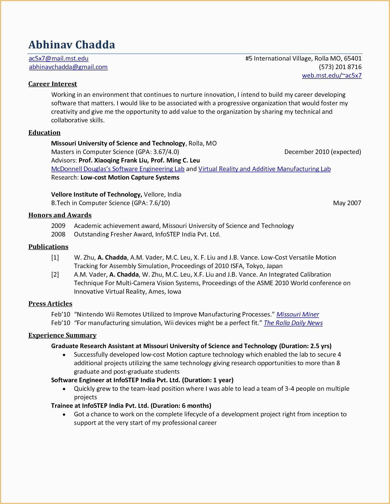 Sample Resume for Computer Science Fresh Graduate Pdf 13 Puter Science Graduate Resume Template Samples