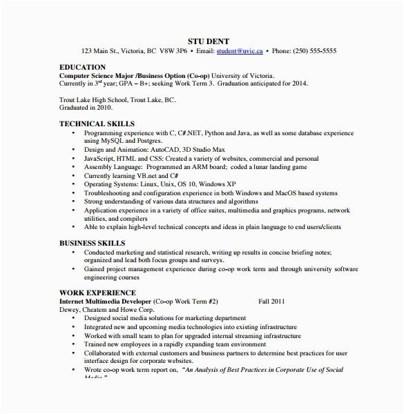 puter science resume