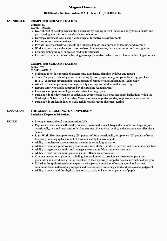 puter science teacher resume sample