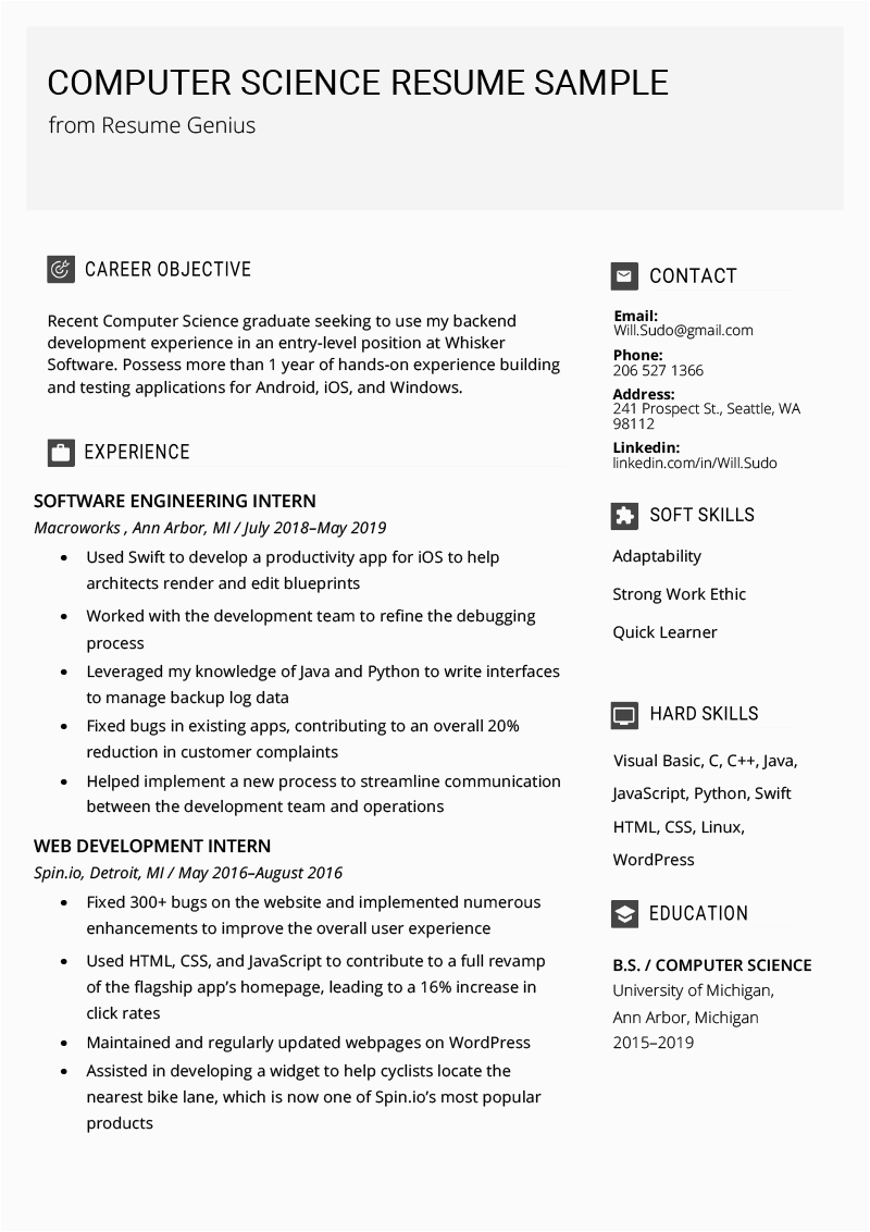 puter science resume example