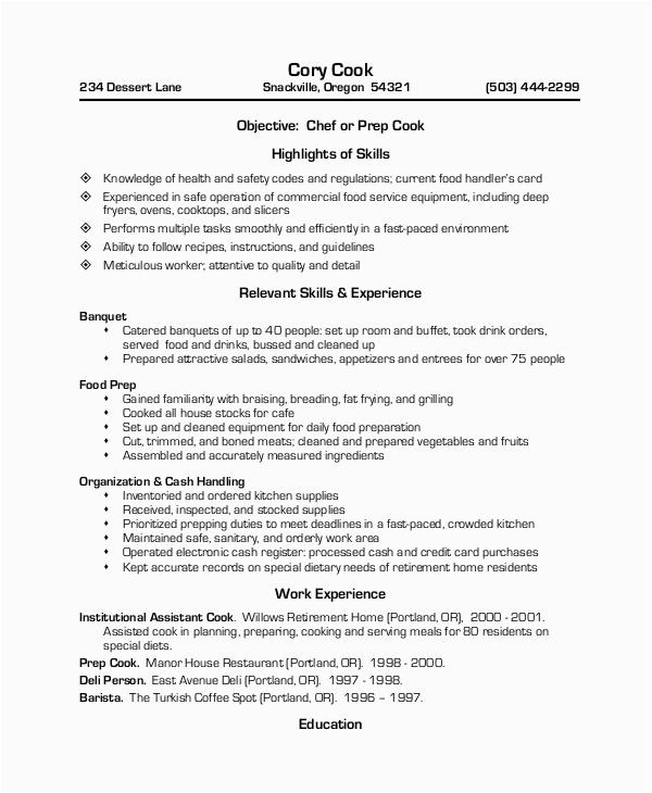Sample Resume for Cook In Restaurant Free 12 Sample Restaurant Resume Templates In Pdf