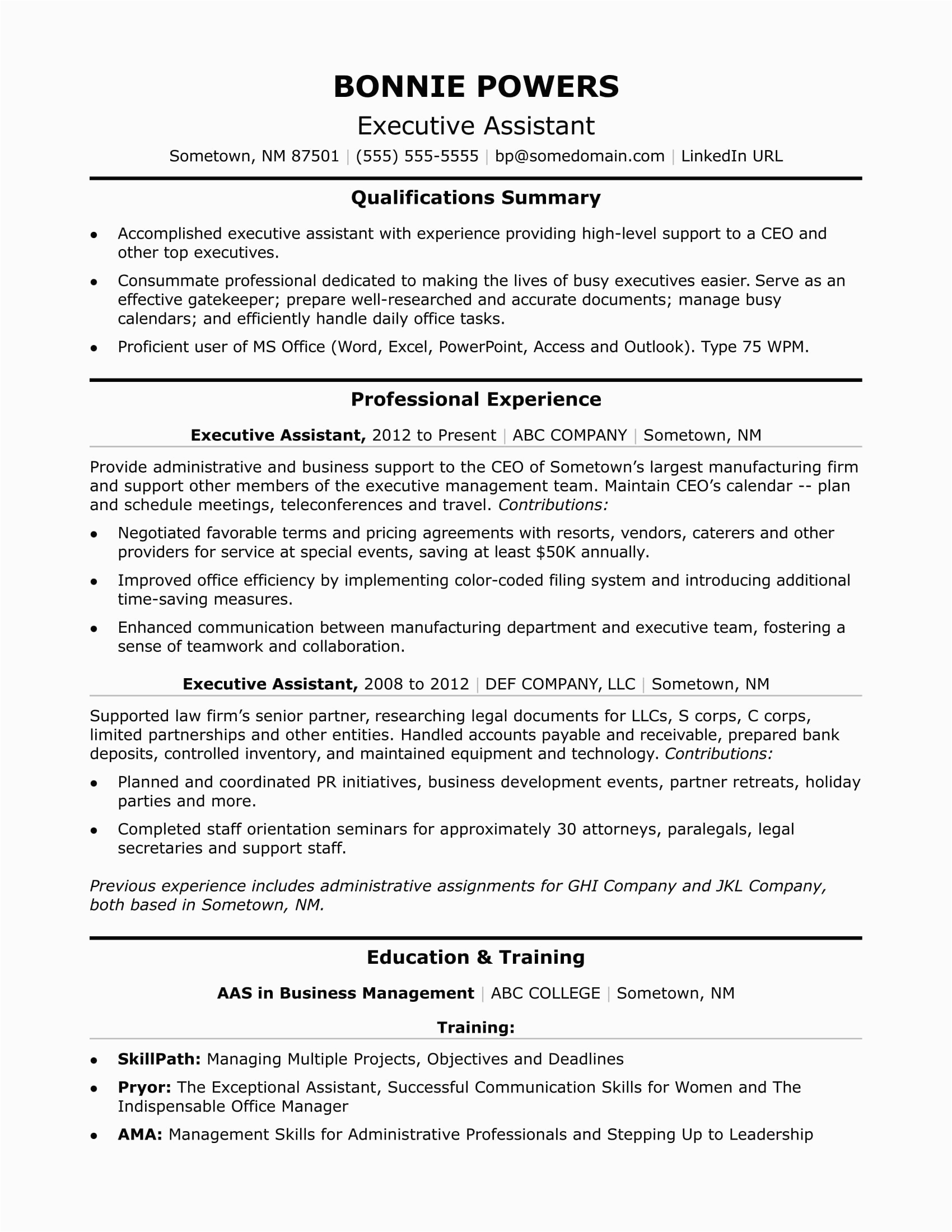 sample resume executive assistant