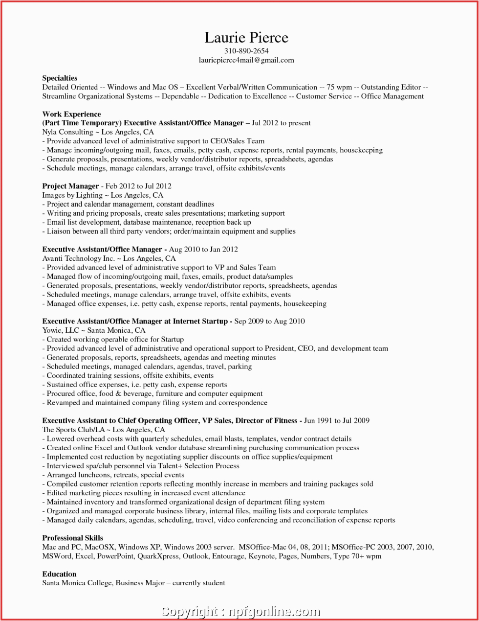Sample Resume for Executive assistant Office Manager New Sample Resume Executive assistant Fice Manager New