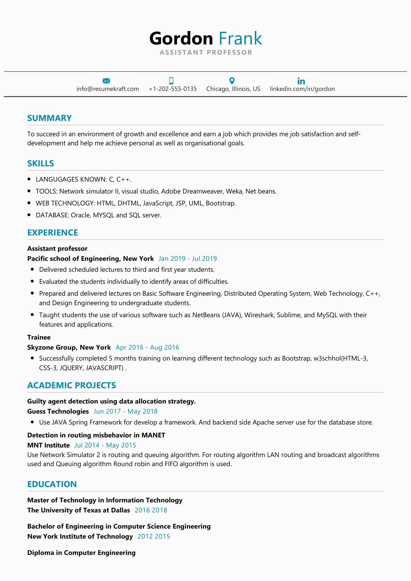 Sample Resume for Experienced assistant Professor In Engineering College assistant Professor Resume Sample Resumekraft